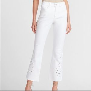 Express High Waist White Embroidered Cropped Jeans